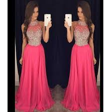 pink halter evening prom dresses 2017 long beaded prom dress