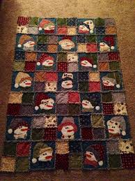snowman rag quilt flannel quilted christmas pinterest rag