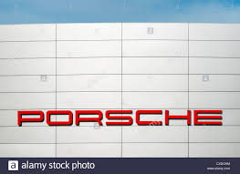 porsche stuttgart factory porsche logo on factory facade in zuffenhausen stuttgart germany