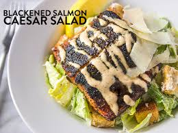 blackened salmon caesar salad recipe with spicy pepper sauce