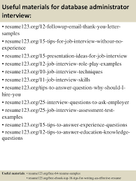 Entry Level Healthcare Administration Resume Examples by Top 8 Database Administrator Resume Samples