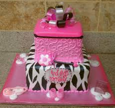 pink zebra and cheetah print baby shower cake gallery picture