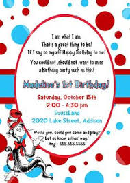 dr seuss birthday invitations custom personalized dr seuss 1st 2nd or 3rd birthday invitation