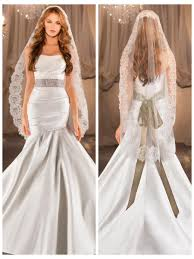 elegant ruched fit flare wedding dress with asymmetrical dropped