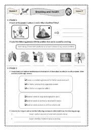 esl worksheets for adults smoking and health