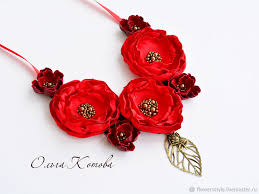 red flower necklace images Necklace made of fabric and leather red temptation necklace made jpg