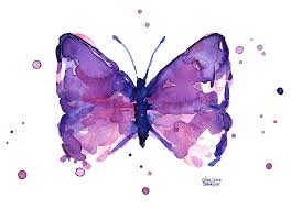 abstract purple butterfly watercolor painting by olga shvartsur