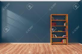 chambre du vide intérieur minimaliste du vide chambre bleue avec parquet et la
