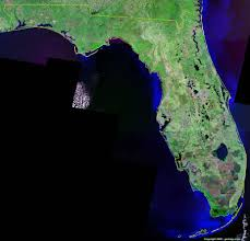 Map Florida Counties by Florida Satellite Images Landsat Color Image