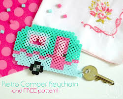 retro camper keychain and pattern the scrap shoppe