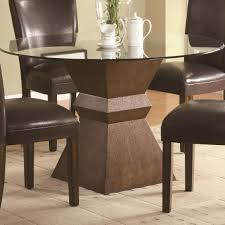Perfect Glass Dining Room Table Base Large Brown Polished Wood - Dining room table pedestals