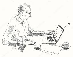 sketch hands computer man office top view drawn u2014 stock vector