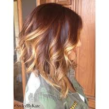 brown and blonde ombre with a line hair cut long bob haircut slightly a lined rich brunette with face