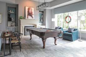 Media Game Room - game room with fringed pocket pool table contemporary media room