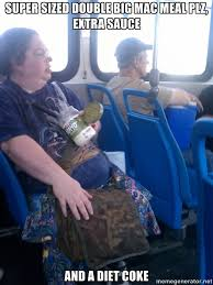 Fat Lady Meme - obease healthconcious lady v fat chick eating mayo on the bus