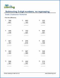 grade 2 subtraction worksheets free u0026 printable k5 learning