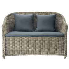 2 Seater Outdoor Sofa 2 Seater Wicker Garden Sofa In Charcoal Grey St Raphaël Maisons
