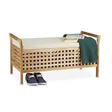coffre siege rangement relaxdays banc de rangement en bois de noyer banquette assise