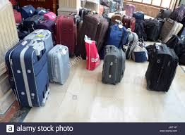 suitcases the suitcases of arriving guests stand in the entrance of the