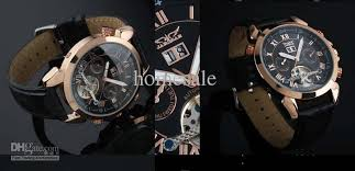 gold bracelet mens watches images Jaragar black face rose gold watch luxury swiss men leather jpg