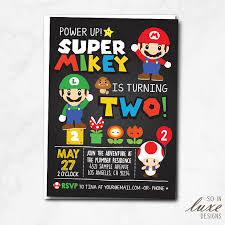 super mario birthday party invitation luigi toad cute cartoon
