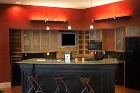 Paint Wood Kitchen Cabinets Kitchen Handsome Kitchen Decoration Using Red Paint For Kitchen