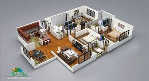 3d plans 20 designs ideas for 3d apartment or one storey three bedroom floor