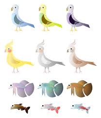 clipart simple birds and fishes