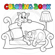 Couch Cartoon Cartoon Coloring Book Sofa Cats By Clairev Toon Vectors Eps 38315
