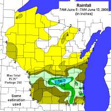 rainfall totals map early june flooding and heavy in 2008