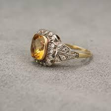citrine engagement rings owned 18 karat vintage citrine diamond ring