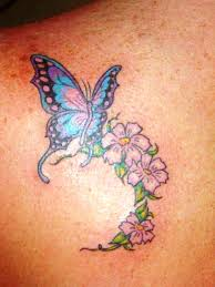 Flower Butterfly Tattoos 01 Small Flower And Butterfly Tattoos Back Insigniatattoo Com