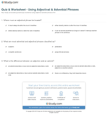 Adjectives And Adverbs Worksheet Quiz Worksheet Adjectival Adverbial Phrases Study Com
