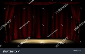 illustration theatre theater stage footlights red stock