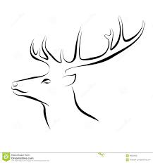 head of deer ink line art stock vector image 49030936