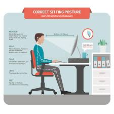 posture bureau position d assise correcte au bureau illustration de vecteur