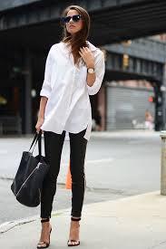 women u0027s white dress shirt black skinny pants black leather