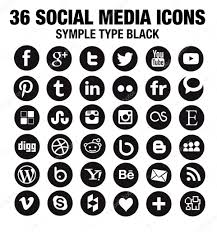 36 new social media icons circle black u2014 stock vector