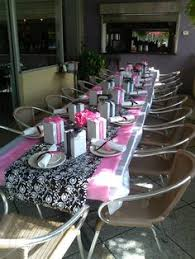 pink black ribbon around napkin from the dollar tree black and