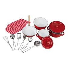 ustensiles cuisine enfants batterie de cuisine casseroles en émail et ustensile jouet de legler