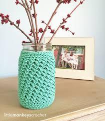 free crochet patterns for home decor mason jar crochet cozy allfreecrochet com