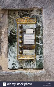 hous doorbell buttons and name plates at apartment hous entrance venice