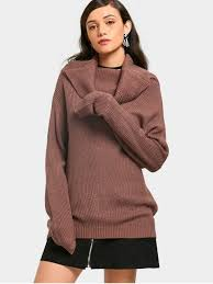 cowl sweater ribbed cowl neck sweater brown sweaters one size zaful
