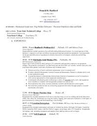 mechanical resume don u0027s mechanical resume