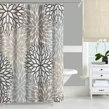 Neutral Shower Curtains Gray And Beige Shower Curtain With Floral Design