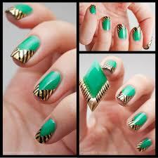 green and gold beautiful nail art design