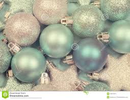 festive background of aqua pale blue ornaments stock