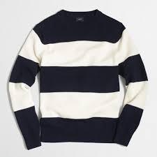 wide striped cotton crewneck sweater factorymen cotton factory