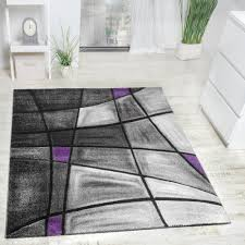 Wohnzimmer Lila Grau Designer Carpet With Contour Cut Striped Pattern Purple Grey And