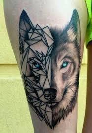 half realistic half geometric wolf mens tattoo tattoo ideas